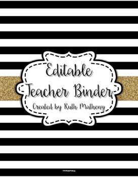 {Editable Teacher Binder} Black & White Striped with Gold