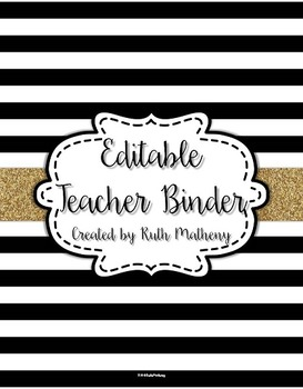 {Editable Teacher Binder} Black & White Striped with Gold