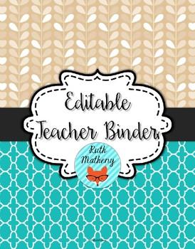 {Editable Teacher Binder} Moroccan Leaves - Turquoise & Light Brown