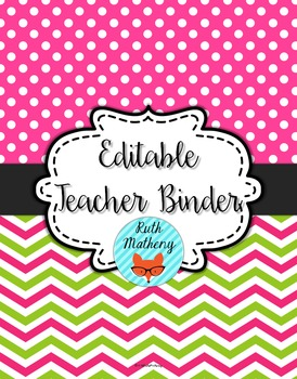 {Editable Teacher Binder} Pink & Green Chevron Dots