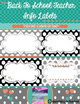 *Editable* Teacher Info Magnet Cards or Sticker Labels