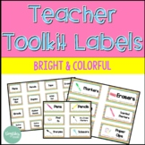*Editable* Teacher Toolkit Labels - Bright, Colorful Theme