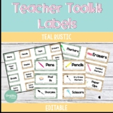 *Editable* Teacher Toolkit Labels - Teal Rustic Theme