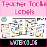 *Editable* Teacher Toolkit Labels - Watercolor Theme