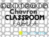 *Editable* Teal and Black Chevron Classroom Label Bundle