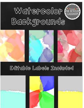{Editable} Watercolor Covers