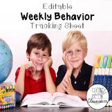 {Editable} Weekly Behavior Tracking Sheet