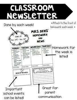 *Editable* Weekly Classroom Newsletter