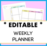 Editable Weekly Planner Template, Colorful, Simple, Monday-Friday