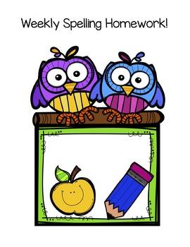 {Editable} Weekly Spelling Homework
