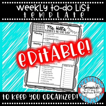 *Editable* Weekly To Do List