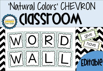 *Editable* Word Wall 'Natural Colors' CHEVRON Classroom Theme
