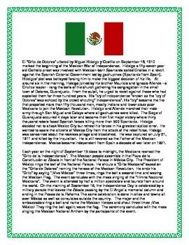"""El Grito"" Mexican Independence-Reading & Comprehension Unit- Cultural SUB Plan"