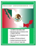 """Distance Learning-""""El Grito"""" Mexican Independence-Reading ENGLISH"""