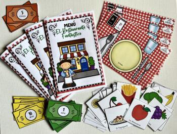 """El Restaurante Fantástico"" (Spanish Food Game with Flashcards)"
