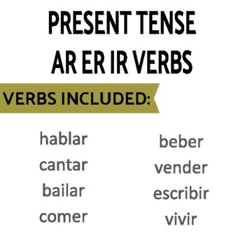 Review Games for Present Tense of Regular AR/ER/IR Verbs