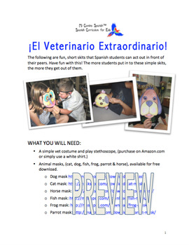 ¡El Veterinario Extraordinario! - Simple Spanish Skits (6 Total)