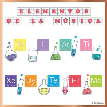 """Elementos de la Música"" Bulletin Board in Spanish (Elements of Music)"