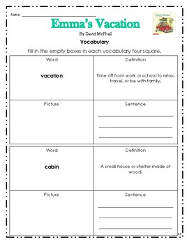 """""""Emma's Vacation"""" Activities for Reading, Writing, & Comprehension"""