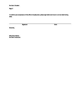 """""""Employment"""" Acceptance Letter"""