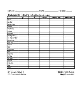 Verbs - Present Tense (¡En Español! Level 1, Unidad 1, 2, 3, 4, and 5)