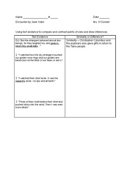 """""""Encounter"""": Text evidence to draw inferences & point of view - LOWs"""