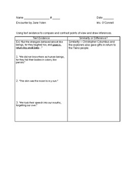 """""""Encounter"""" Text evidence to draw inferences & point of view - MEETING"""