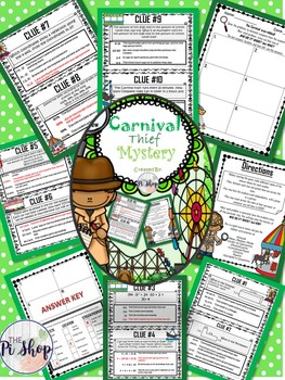 {Beginning/End of the Year} C.S.I. Carnival Math Mystery. NO PREP!