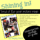 **End of the Year** Shining In! picture page