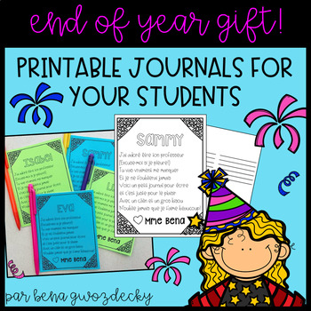 {End of year gift!} Editable French summer journals for your students