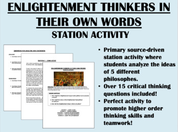 """Enlightenment Thinkers in Their Own Words"" Station Activity"