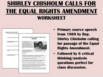 """""""Equal Rights for Women"""" (1969) - Shirley Chisholm"""
