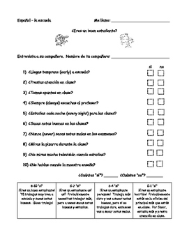 ¿Eres un buen estudiante? - magazine quiz partner activity