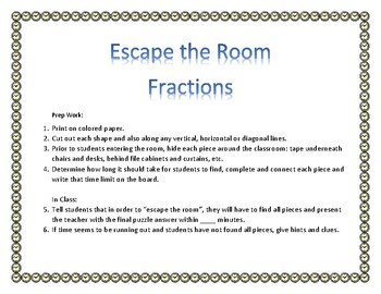 """""""Escape the Room"""": Add Fractions"""