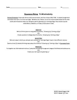 """""""Esperanza Rising"""" Tri-Minder Activities"""