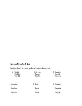 """""""Esperanza Rising"""" Vocabulary Quiz"""