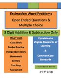 3 Digit Estimation Word Problems Addition & Subtraction - VA SOL Correlated