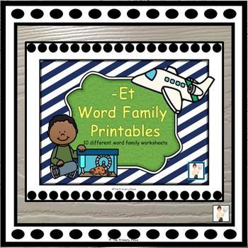 -Et Word Family Printable Worksheets