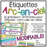{Étiquettes arc-en-ciel} 22 EDITABLE rainbow watercolour m