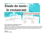 « Étude de mots – le restaurant »