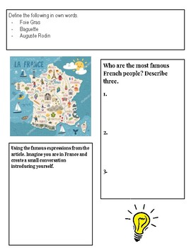 (Europe) Facts about France for Kids-  Reading Research Guide