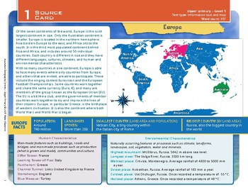 """""""Europe"""" Year 5 Card 1 Australian Geography Centre"""