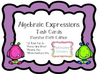 **Evaulating Algebraic Expressions Task Cards w/ Recording Sheet & Answer Key**