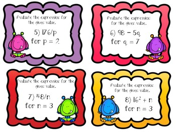 **Evaulating Algebraic Expressions Task Cards w/ Recording Sheet & Answer Key**