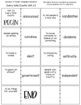 """Every Vote Counts"" Vocabulary Dominoes"
