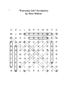 """""""Everyday Use"""" Story Vocabulary Word Search (Alice Walker) With Definitions"""