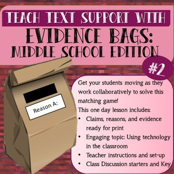 """Evidence Bags"" Middle School Edition #2 Textual Support Hook/Review"