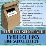 """""""Evidence Bags"""" Textual Support Hook or Review Lesson"""