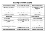 """""""Example Affirmations"""" Poster/Handout"""