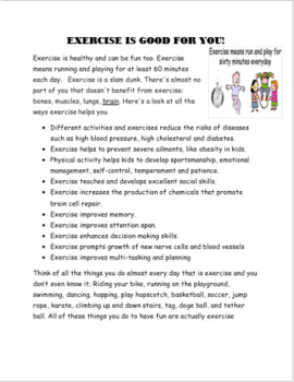 """""""Exercise Activity Packet, info on exercise, 4 activites"""